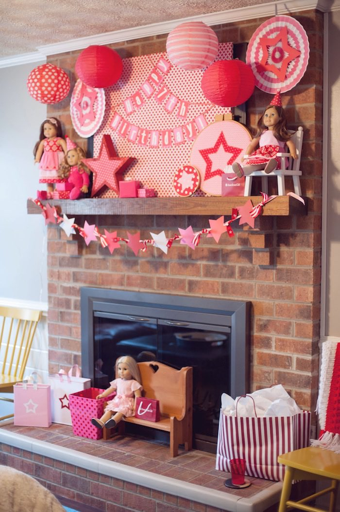 Fireplace Display from an American Girl Doll Themed Birthday Party via Kara's Party Ideas! KarasPartyIdeas.com (15)