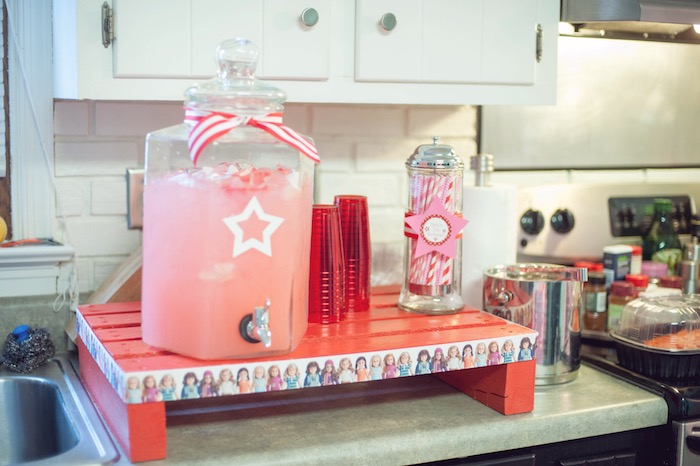 Drink Station from an American Girl Doll Themed Birthday Party via Kara's Party Ideas! KarasPartyIdeas.com (11)