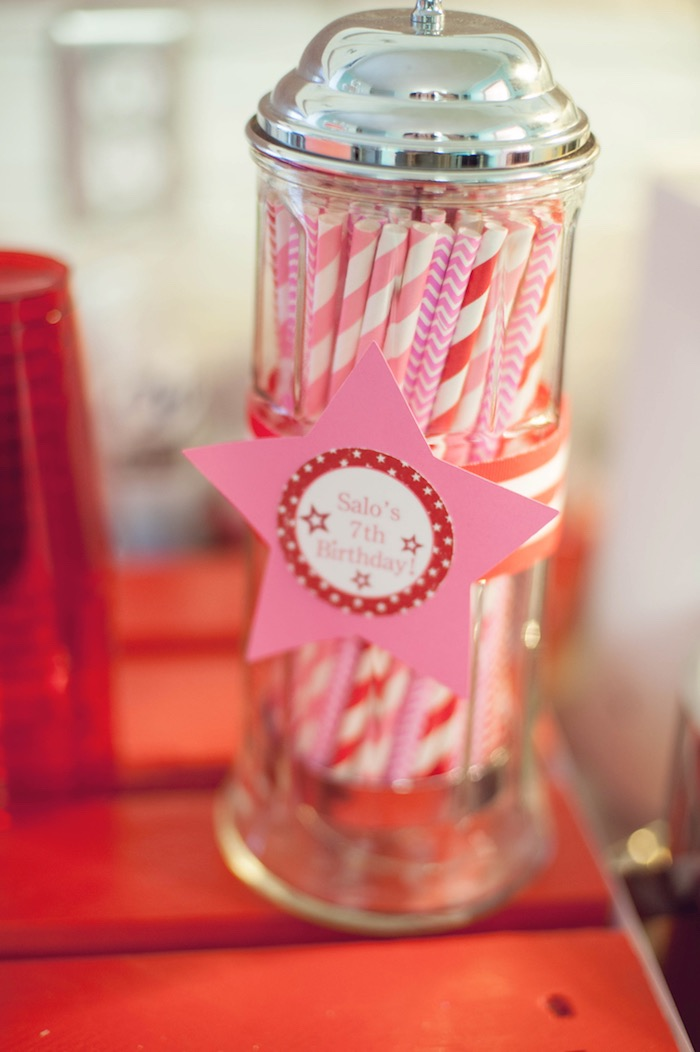 Straws from an American Girl Doll Themed Birthday Party via Kara's Party Ideas! KarasPartyIdeas.com (10)