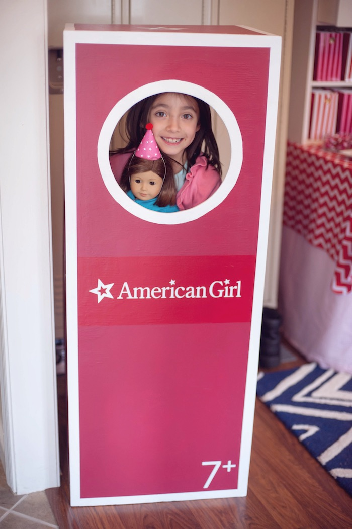 Boxed American Girl Doll - Photo Booth from an American Girl Doll Themed Birthday Party via Kara's Party Ideas! KarasPartyIdeas.com (8)