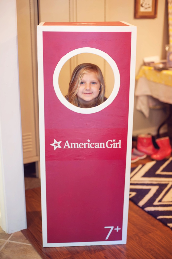 Boxed American Girl Doll - Photo Booth from an American Girl Doll Themed Birthday Party via Kara's Party Ideas! KarasPartyIdeas.com (3)