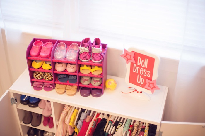 """Doll Dress Up"" Station from an American Girl Doll Themed Birthday Party via Kara's Party Ideas! KarasPartyIdeas.com (51)"