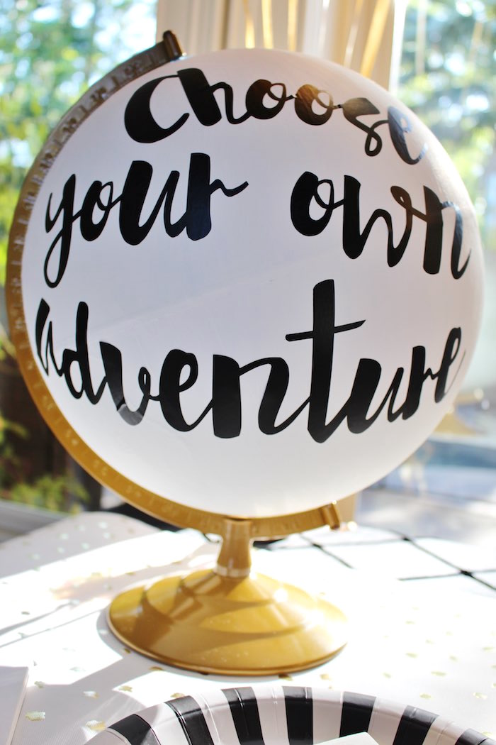 Minted Globe Decoration from a Black, White + Gold Graduation Party via Kara's Party Ideas | KarasPartyIdeas.com (21)