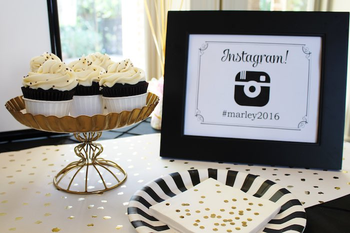 Sweet Table Details from a Black, White + Gold Graduation Party via Kara's Party Ideas | KarasPartyIdeas.com (20)