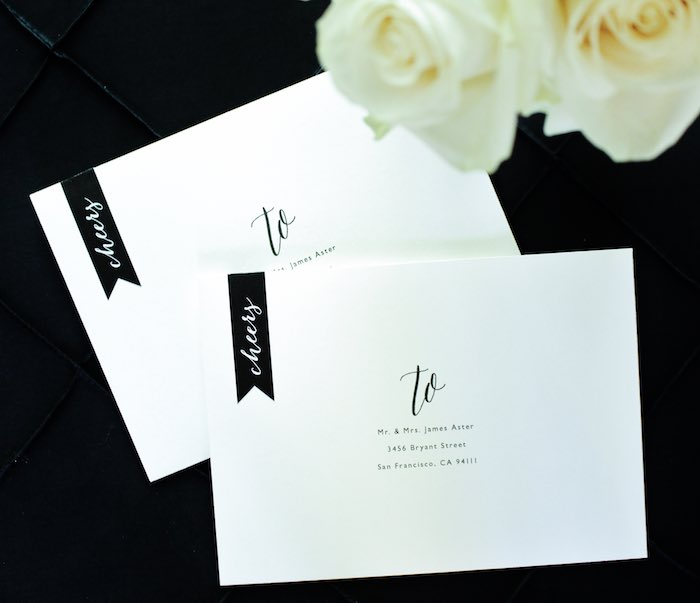 Envelopes + Stationery from a Black, White + Gold Graduation Party via Kara's Party Ideas | KarasPartyIdeas.com (19)
