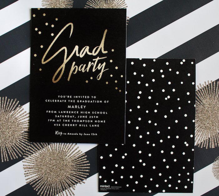 Party Invitation from a Black, White + Gold Graduation Party via Kara's Party Ideas | KarasPartyIdeas.com (17)