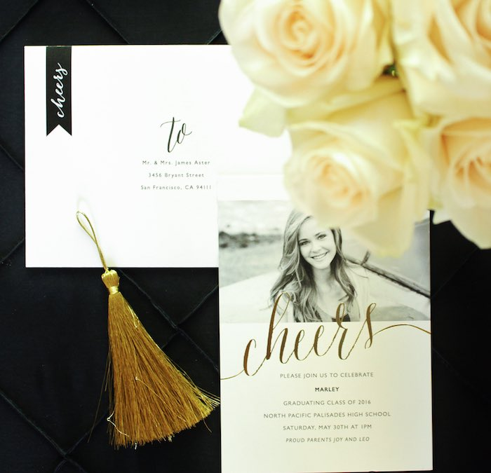 Graduation Invitation + Stationery from a Black, White + Gold Graduation Party via Kara's Party Ideas | KarasPartyIdeas.com (15)