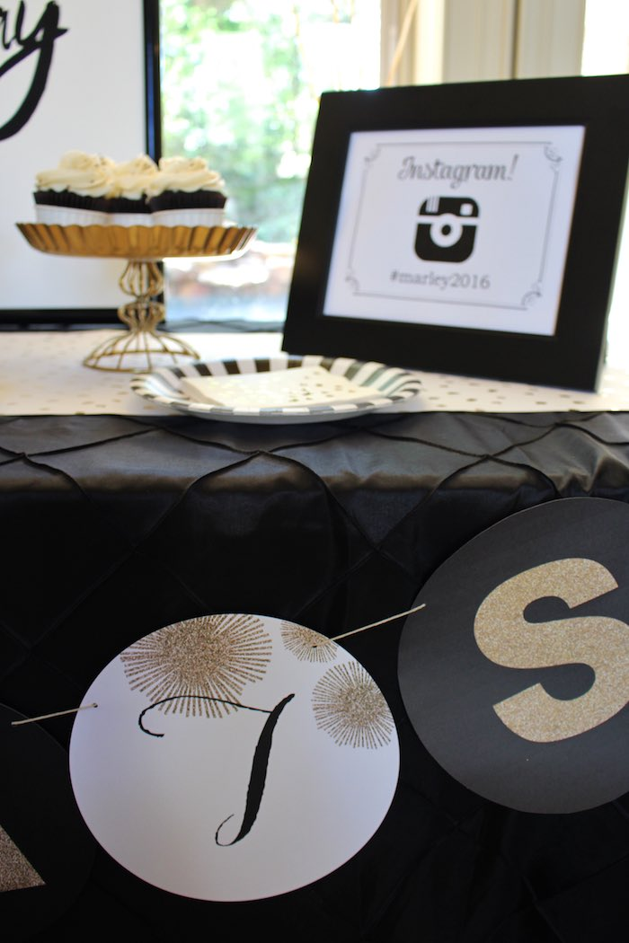 Banner Detail from a Black, White + Gold Graduation Party via Kara's Party Ideas | KarasPartyIdeas.com (33)