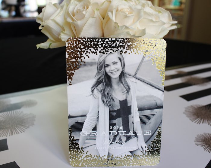Grad Announcement from a Black, White + Gold Graduation Party via Kara's Party Ideas | KarasPartyIdeas.com (14)