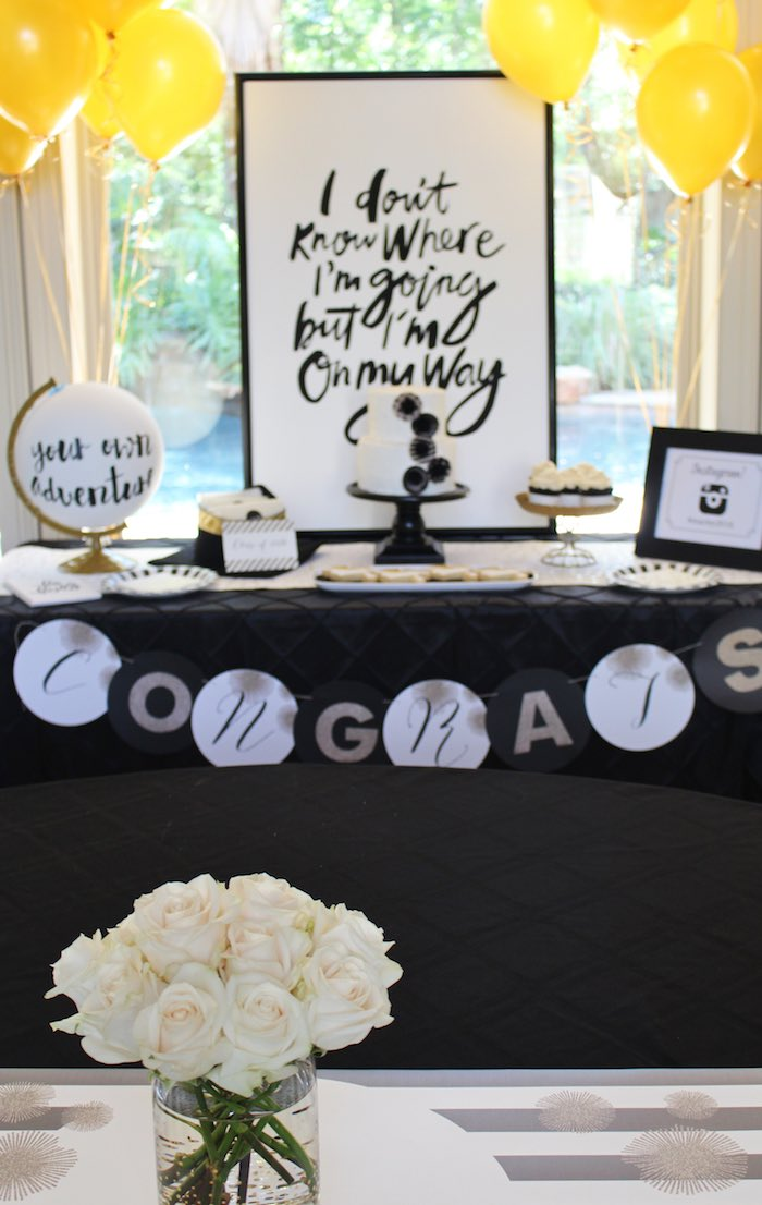 Dessert Table from a Black, White + Gold Graduation Party via Kara's Party Ideas | KarasPartyIdeas.com (13)