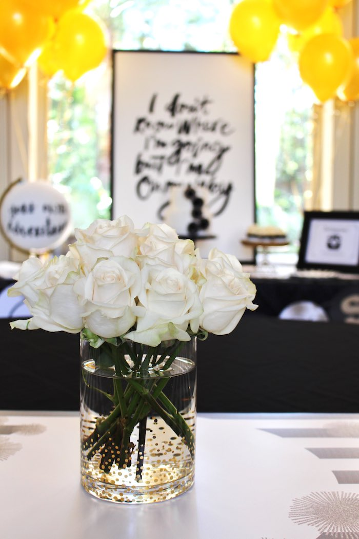 White Roses from a Black, White + Gold Graduation Party via Kara's Party Ideas | KarasPartyIdeas.com (12)