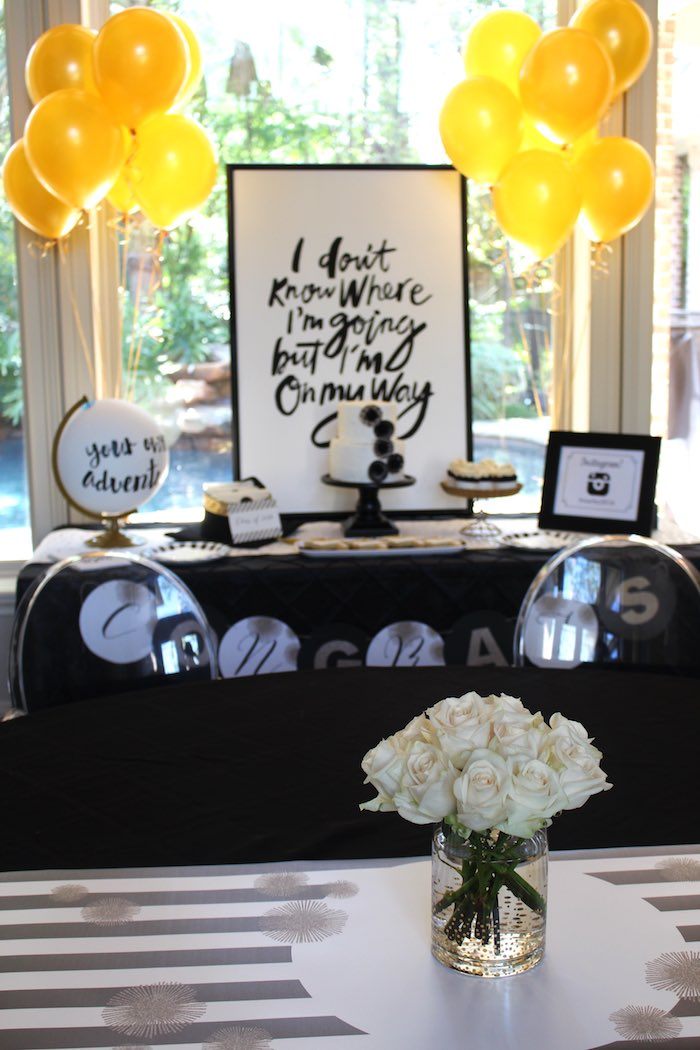 Dessert Table from a Black, White + Gold Graduation Party via Kara's Party Ideas | KarasPartyIdeas.com (11)