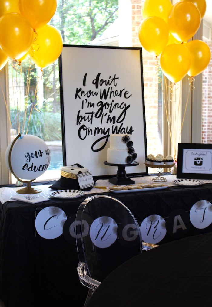 Graduation Table Ideas graduation table ideas pinterest graduation party ideas mirabelle creations Dessert Table From A Black White Gold Graduation Party Via Karas Party Ideas