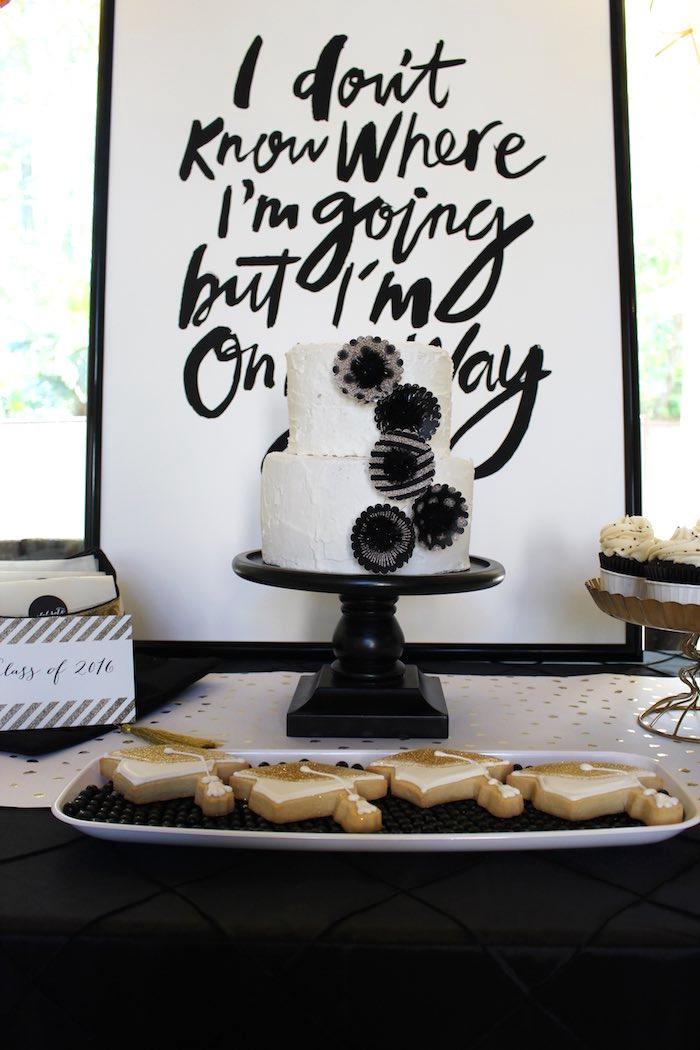 details from a black white gold graduation party via karau0027s party ideas - Graduation Party