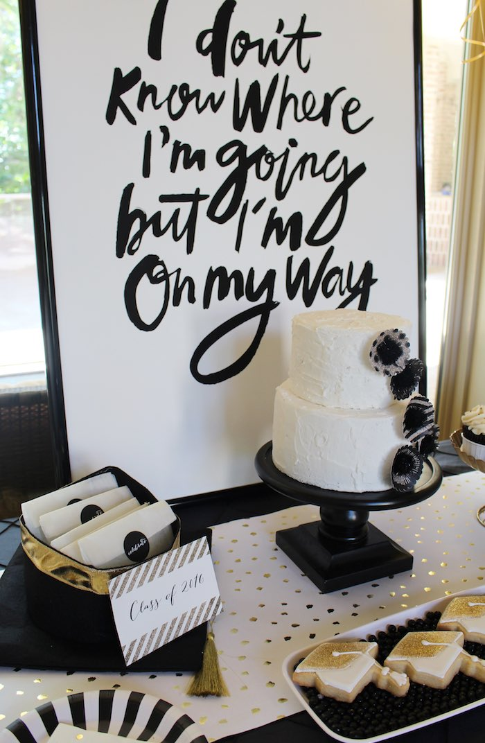 Details from a Black, White + Gold Graduation Party via Kara's Party Ideas | KarasPartyIdeas.com (8)