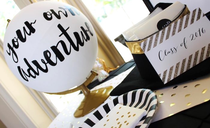 Details from a Black, White + Gold Graduation Party via Kara's Party Ideas | KarasPartyIdeas.com (7)