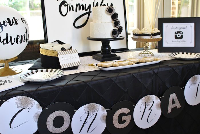 Main Table from a Black, White + Gold Graduation Party via Kara's Party Ideas | KarasPartyIdeas.com (6)