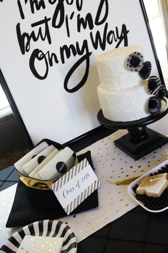 Sweet Table Details from a Black, White + Gold Graduation Party via Kara's Party Ideas | KarasPartyIdeas.com (5)