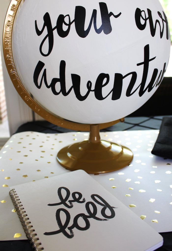 Decor Pieces (Be Bold Journal + Adventure Globe) from a Black, White + Gold Graduation Party via Kara's Party Ideas | KarasPartyIdeas.com (32)