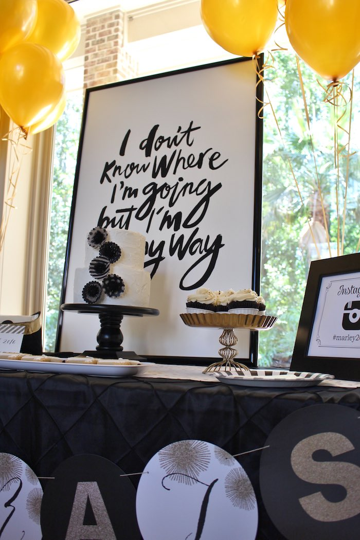 Sweet Table Details from a Black, White + Gold Graduation Party via Kara's Party Ideas | KarasPartyIdeas.com (4)
