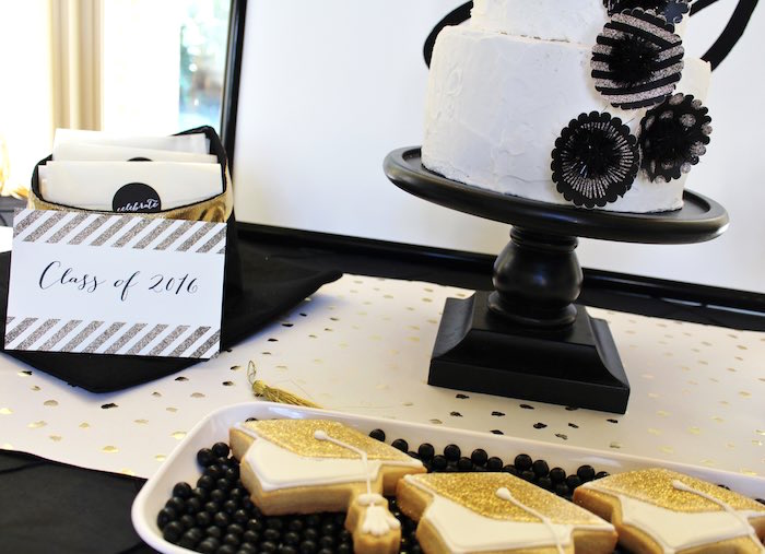 Details from a Black, White + Gold Graduation Party via Kara's Party Ideas | KarasPartyIdeas.com (3)
