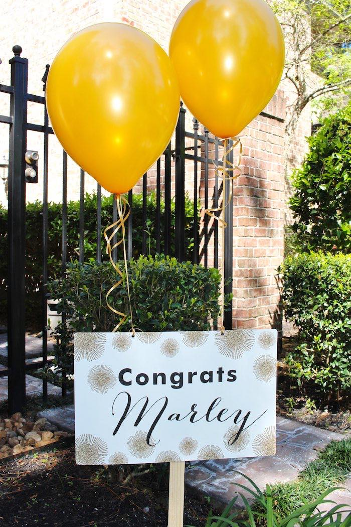 Entrance + Sign from a Black, White + Gold Graduation Party via Kara's Party Ideas | KarasPartyIdeas.com (2)