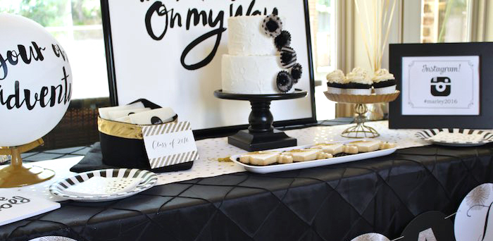 Head Table Details from a Black, White + Gold Graduation Party via Kara's Party Ideas | KarasPartyIdeas.com (1)