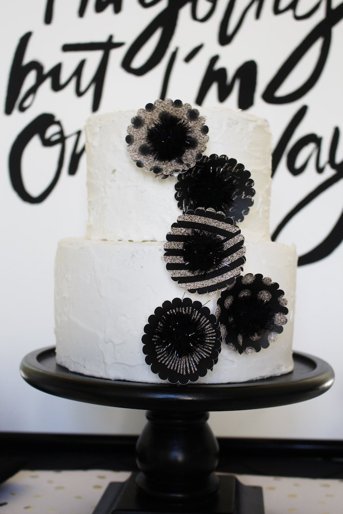 Cake from a Black, White + Gold Graduation Party via Kara's Party Ideas | KarasPartyIdeas.com (31)