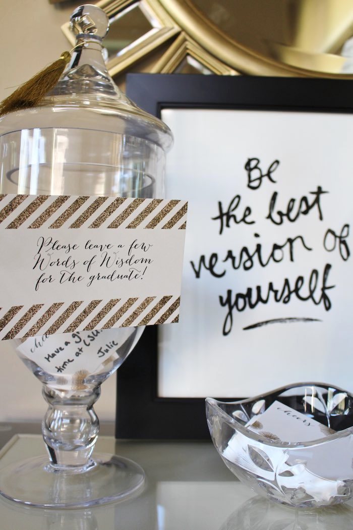 Apothecary Jar for Words of Wisdom from a Black, White + Gold Graduation Party via Kara's Party Ideas | KarasPartyIdeas.com (28)