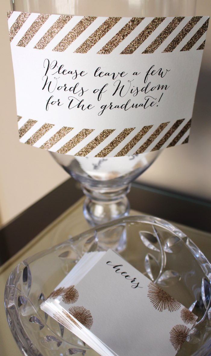 Words of Wisdom Table Details from a Black, White + Gold Graduation Party via Kara's Party Ideas | KarasPartyIdeas.com (25)