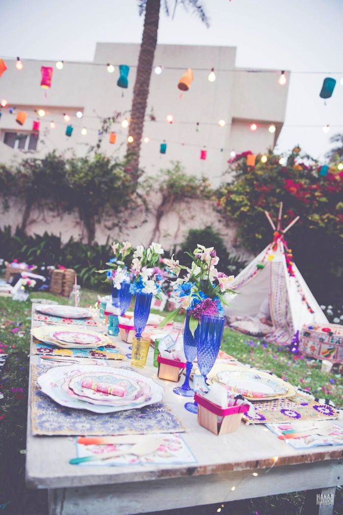 Guest Tabletop + Partyscape from a Bohemian Gypsy Birthday Party via Kara's Party Ideas KarasPartyIdeas.com (4)