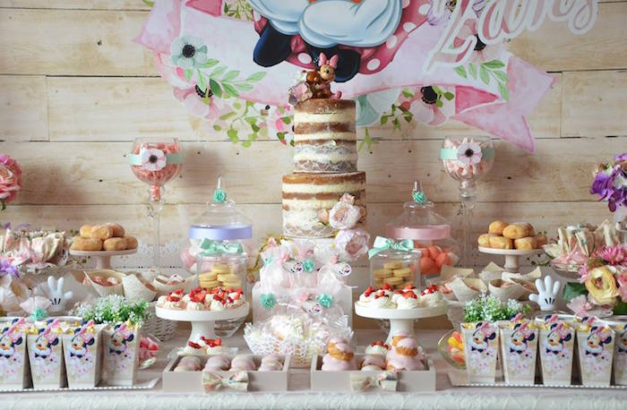 Sweet Table Details from a Boho Chic Minnie Mouse Birthday Party via Kara's Party Ideas KarasPartyIdeas.com (19)