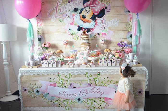 Birthday Girl in awe over her Sweet Table from a Boho Chic Minnie Mouse Birthday Party via Kara's Party Ideas KarasPartyIdeas.com (12)