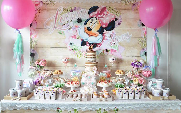 Kara S Party Ideas Boho Chic Minnie Mouse Birthday Party