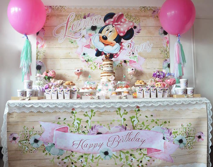 Sweet Table from a Boho Chic Minnie Mouse Birthday Party via Kara's Party Ideas KarasPartyIdeas.com (4)
