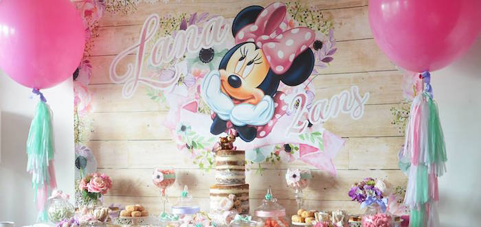 Karas Party Ideas Boho Chic Minnie Mouse Birthday