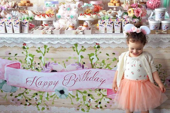 Birthday Girl From A Boho Chic Minnie Mouse Party Via Karas Ideas KarasPartyIdeas
