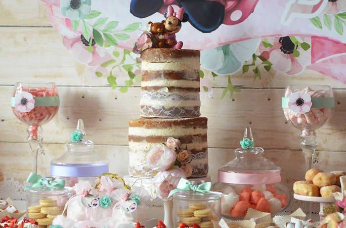 Cake from a Boho Chic Minnie Mouse Birthday Party via Kara's Party Ideas KarasPartyIdeas.com (22)