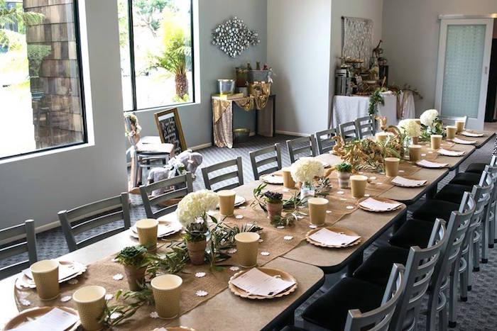 Party Setup + Guest Tablescape from a Boho Safari Baby Shower via Kara's Party Ideas | KarasPartyIdeas.com (9)