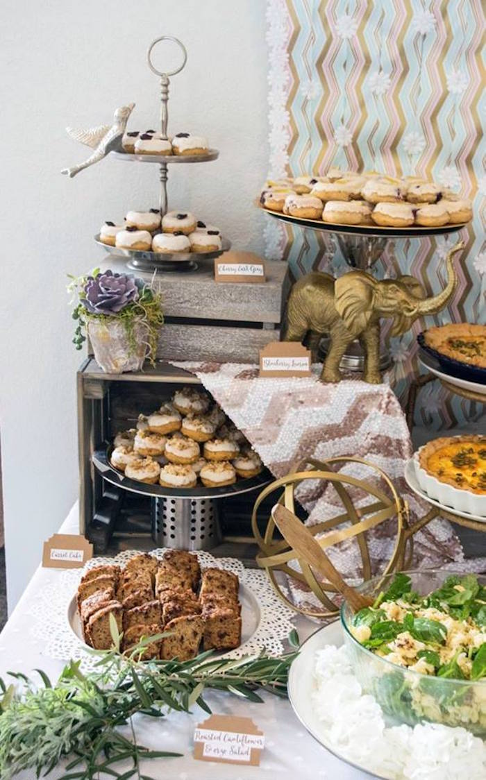 Dessert Table Details From A Boho Safari Baby Shower Via Karas Party Ideas
