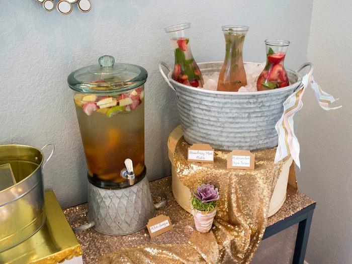 Drink Table From A Boho Safari Baby Shower Via Karau0027s Party Ideas |  KarasPartyIdeas.com