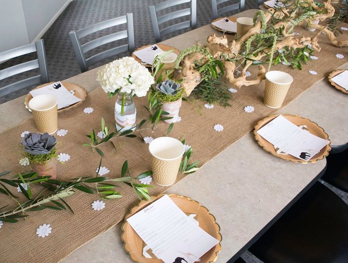 Guest Tabletop From A Boho Safari Baby Shower Via Karau0027s Party Ideas |  KarasPartyIdeas.com