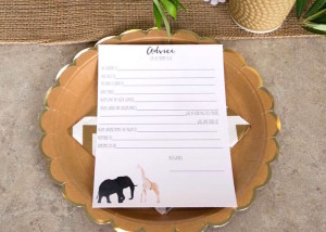 Advice Card + Place Setting from a Boho Safari Baby Shower via Kara's Party Ideas | KarasPartyIdeas.com (21)