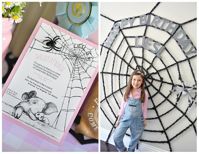 Invitation + Spider Web Photo-booth from a Charlotte's Web Inspired Birthday Party via Kara's Party Ideas | KarasPartyIdeas.com - The Place for All Things Party! (25)