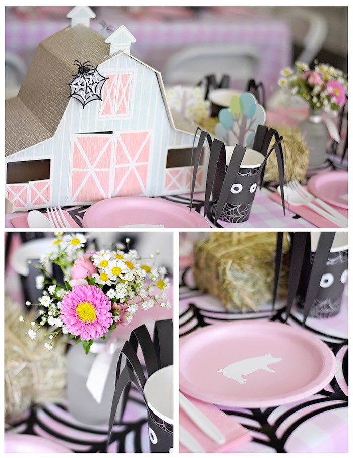 Dining Table Details from a Charlotte's Web Inspired Birthday Party via Kara's Party Ideas | KarasPartyIdeas.com - The Place for All Things Party! (21)