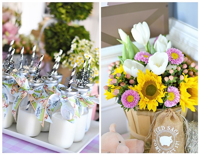 Milk Bottles + Floral Centerpiece from a Charlotte's Web Inspired Birthday Party via Kara's Party Ideas | KarasPartyIdeas.com - The Place for All Things Party! (19)
