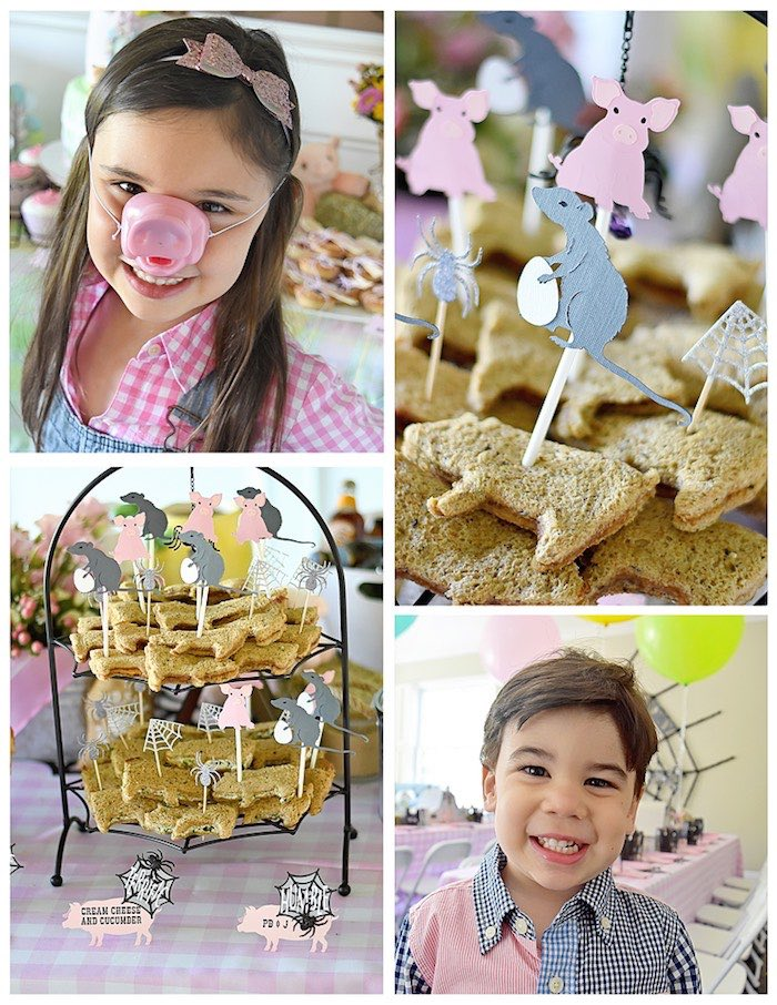 Sandwiches + Kids from a Charlotte's Web Inspired Birthday Party via Kara's Party Ideas | KarasPartyIdeas.com - The Place for All Things Party! (16)