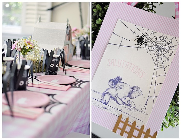 Dining Tablescape + Stationery from a Charlotte's Web Inspired Birthday Party via Kara's Party Ideas | KarasPartyIdeas.com - The Place for All Things Party! (13)