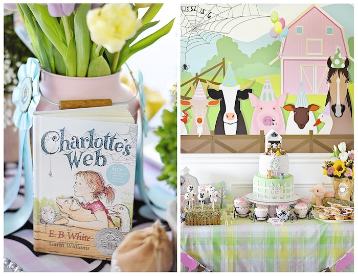 Dessert Table from a Charlotte's Web Inspired Birthday Party via Kara's Party Ideas | KarasPartyIdeas.com - The Place for All Things Party! (29)