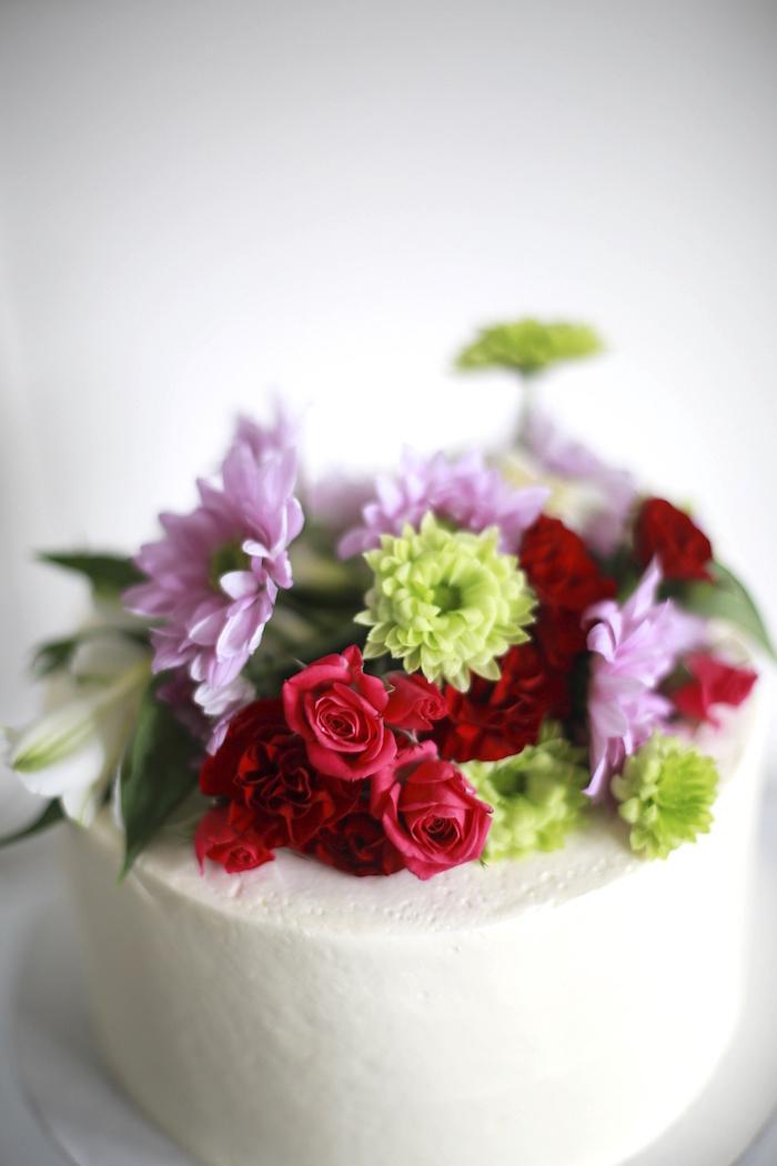 Cake + Flower Detail from a Chic Cinderella Themed Birthday Party via Kara's Party Ideas - KarasPartyIdeas.com (10)